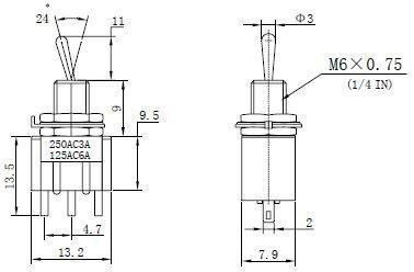 Przełącznik dźwigniowy SPDT M102 mini
