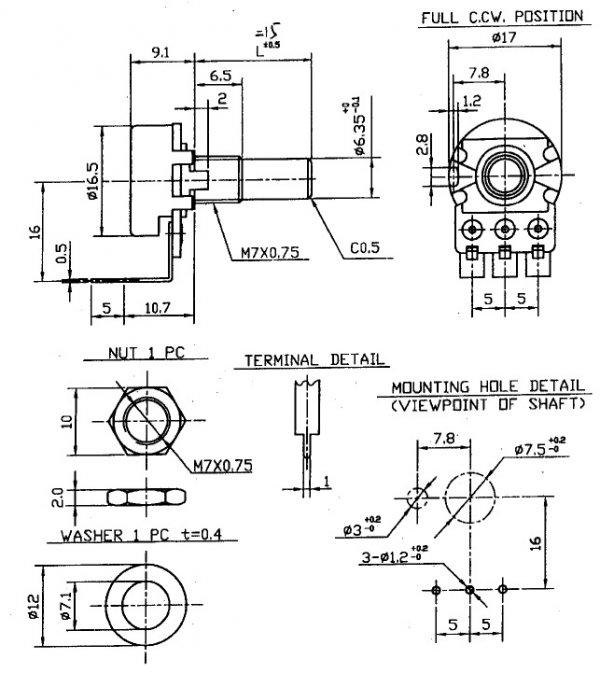 Alpha 500k/B liniowy PCB-V (6.3)