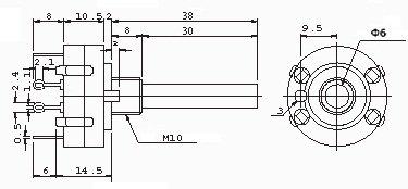 Przełącznik obrotowy 3 pozycje 4 obw. 24mm