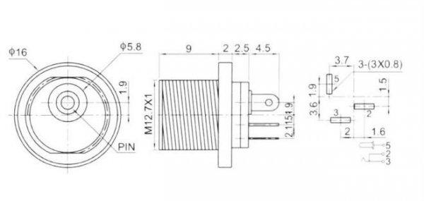 Gniazdo DC power 2.1mm, styl Boss typ2