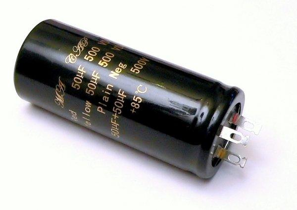 Kondensator 50uF + 50uF 500V