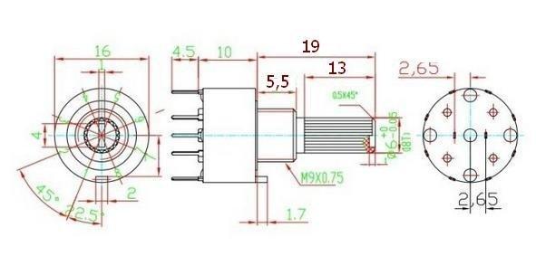 Przełącznik obrotowy 5 pozycji 1 obw. 16mm