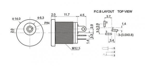 Gniazdo DC 2.1mm, styl Boss (białe)