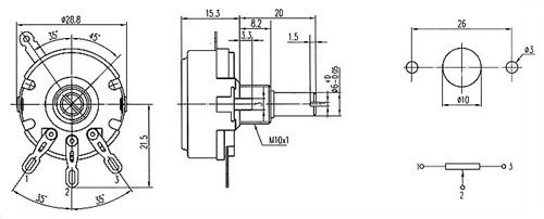 Potencjometr 10k/B liniowy 2W