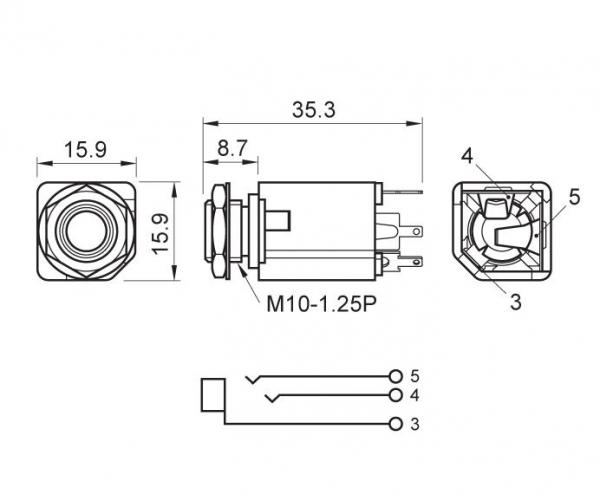 Gniazdo Jack 6,3mm stereo MJ300 BOX