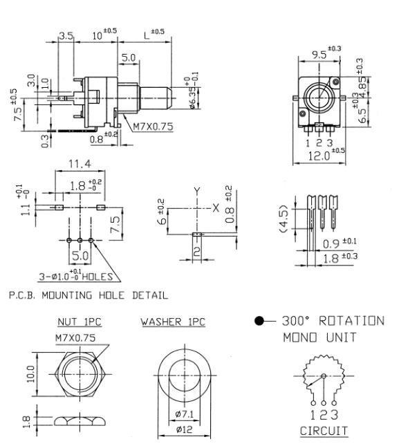 Alpha 9mm - 100k/B liniowy, stereo