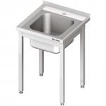stół stalowy bez półki ze zlewem 1-komorowym, skręcany, blat tłoczony, 600x600x850 mm