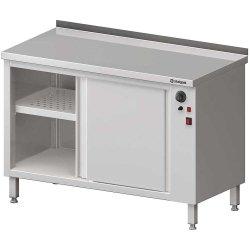 Stół przyścienny, z szafką grzewczą,drzwi suwane 1600x700x850 mm