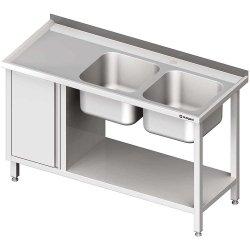 Stół ze zlew 2-kom.(P), z szafką i półką 1600x700x850 mm