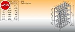 Regał z półkami stałymi ociekowymi lo 603 - 900x400