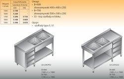 Stół zlewozmywakowy 2-zbiornikowy lo 239/s3 - 1800x700