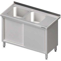 Stół ze zlewem 2-kom.(L),drzwi suwane 1600x600x850 mm