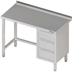 Stół przyścienny z blokiem trzech szuflad (P),bez półki 1900x700x850 mm