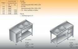 Stół zlewozmywakowy 2-zbiornikowy lo 239/s2 - 1700x700