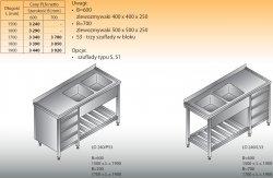 Stół zlewozmywakowy 2-zbiornikowy lo 240/s3 - 1900x600