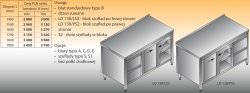 Stół roboczy z blokiem szuflad i szafką lo 138/s2 - 1600x600