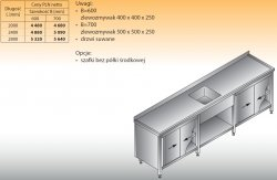 Stół zlewozmywakowy 1-zbiornikowy lo 222 - 2400x600