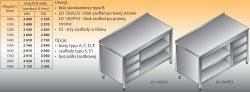 Stół roboczy z blokiem szuflad i szafką otwartą lo 136/s3 - 1100x700
