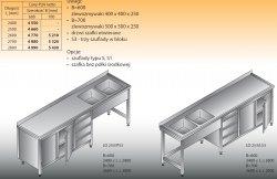 Stół zlewozmywakowy 2-zbiornikowy lo 253/s3 - 2700x700