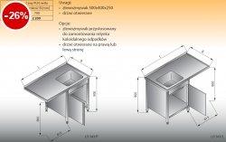 Stół zlewozmywakowy 1-zbiornikowy z szafką lo 343 prawy Lozamet