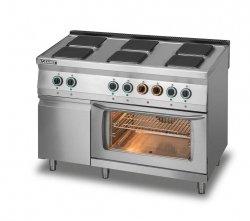 Kuchnia elektryczna 6-płytowa z piekarnikiem elektrycznym z termoobiegiem GN1/1 i szafką L700.KE6 PET+SD Lozamet