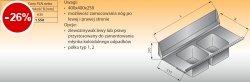 Płyta stołu przelotowego z dwoma zlewozmywakami lo 330 - 1300x635 Lozamet