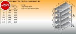 Regał z półkami stałymi perforowanymi lo 604 - 1300x600
