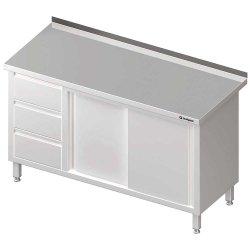 Stół przyścienny z blokiem trzech szuflad (L),drzwi suwane 1400x700x850 mm