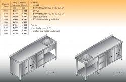 Stół zlewozmywakowy 1-zbiornikowy lo 227/s2 - 2800x700