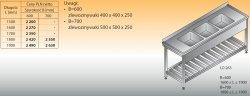 Stół zlewozmywakowy 3-zbiornikowy lo 263 - 1800x700