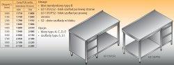 Stół roboczy z blokiem szuflad i półką lo 135/s2 - 1700x600