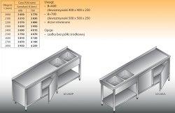 Stół zlewozmywakowy 2-zbiornikowy lo 243 - 2800x700