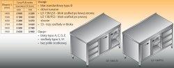Stół roboczy z blokiem szuflad i szafką lo 138/s3 - 1400x700