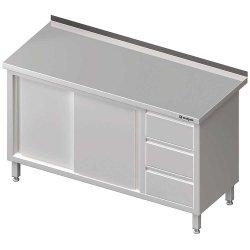 Stół przyścienny z blokiem trzech szuflad (P),drzwi suwane 1900x600x850 mm