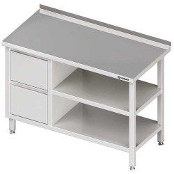 Stół przyścienny z blokiem dwóch szuflad (L),i 2-ma półkami 1800x700x850 mm