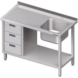 Stół ze zlewem 1-kom.(P), z blokiem trzech szuflad i półką 1900x700x850 mm