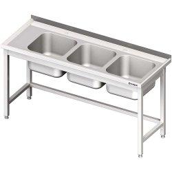 Stół ze zlewem 3-kom.(P),bez półki 1900x600x850 mm