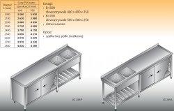 Stół zlewozmywakowy 2-zbiornikowy lo 249 - 2500x700