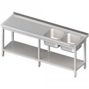 Stół ze zlewem 2-kom.(P),z półką 2500x700x850 mm