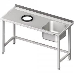 Stół przyścienny ze zlewem, bez półki z otworem 1900x700x850 mm, 1 komora po prawej spawany