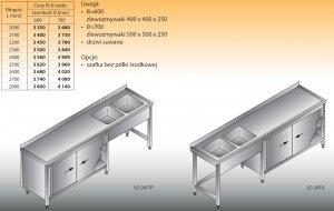 Stół zlewozmywakowy 2-zbiornikowy lo 247 - 2700x700