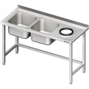 Stół przyścienny ze zlewem bez półki z otworem 1600x600x850 mm, 2-komory po lewej spawany