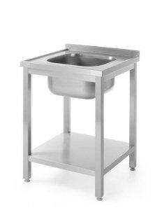 Stół z jednym zlewem z półką - skręcany, o wym.600x600x(H)850 mm