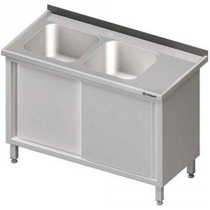 Stół ze zlewem 2-kom.(L),drzwi suwane 1500x700x850 mm