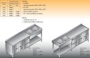 Stół zlewozmywakowy 2-zbiornikowy lo 257/s2 - 2800x700
