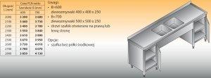 Stół zlewozmywakowy 2-zbiornikowy lo 250 - 2200x700