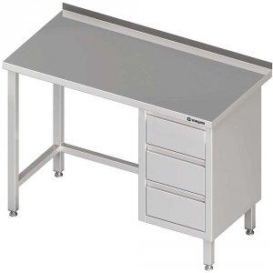 Stół przyścienny z blokiem trzech szuflad (P),bez półki 1900x600x850 mm