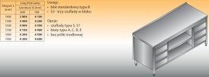Stół roboczy z dwoma blokami szuflad i szafką otwartą lo 144/s3 - 1800x700