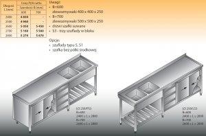 Stół zlewozmywakowy 2-zbiornikowy lo 258/s3 2800x700