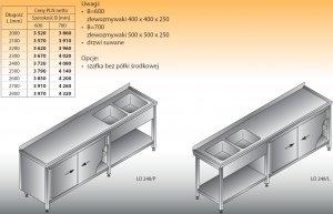 Stół zlewozmywakowy 2-zbiornikowy lo 248 - 2600x600